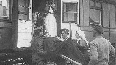 Canadian officer being loaded onto Troop Train, 1914-20