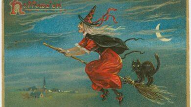 Hallowe'en vintage postcard, NY Public Library