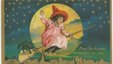Jolly Halloween vintage postcard, NY Public Library