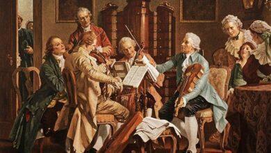 Joseph Haydyn playing string quartets, Op. 20, 1790
