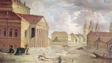 Neva river flood in Russia, 1824