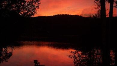 Simon Legris, sunrise at Lake Lovering, Quebec