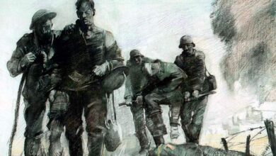 George Matthews Harding, US Army artist, Village of Marne, 1918