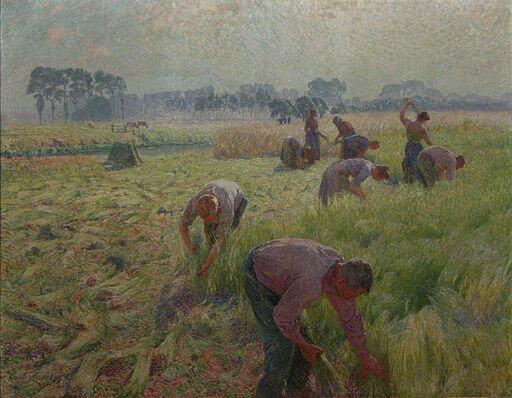 Emile Claus, Flax harvesting, Belgium, 1904