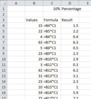 Image of Formula references in Excel - 10%
