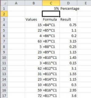 image of Formula references in Excel - 5%