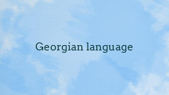 Georgian language