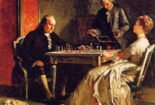 Edward Harrison May, Lady Howe mating Benjamin Franklin, 1867
