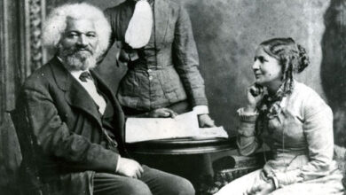 Frederick Douglass with his second wife Helen Pitts and her sister Eva